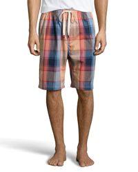 Original Penguin Blue Poplin Plaid Drawstring Shorts for men