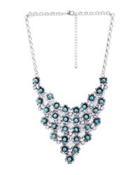 Forever 21 - Blue Cascading Flower Bib Necklace - Lyst