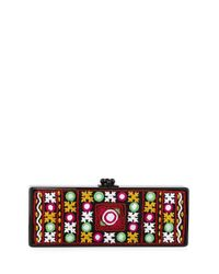Edie Parker Black Flavia Embroidered-inlay Clutch Bag