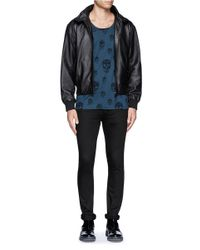 McQ Black Cropped Leather Bomber Jacket for men