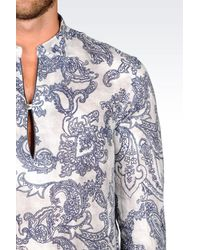 Emporio Armani - Gray Long Sleeve Shirt for Men - Lyst