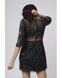TOPSHOP - Black Petite Limited Edition Embellished Shift Dress - Lyst