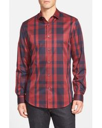 Calibrate | Red Trim Fit Plaid Sport Shirt for Men | Lyst
