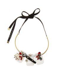 Marni Black Crystal And Horn-embellished Necklace