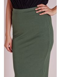 Missguided | Natural Plus Size Jersey Midi Skirt Khaki | Lyst