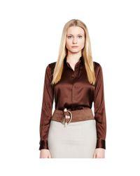 Ralph Lauren Black Label - Brown Rachel Stretch-silk Shirt - Lyst