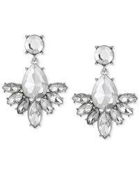 Steve Madden | Metallic Silver-tone Geometric Crystal Cluster Drop Earrings | Lyst