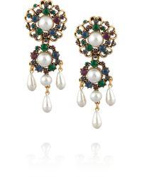 Oscar de la Renta - Metallic Gold-tone Crystal Earrings - Lyst