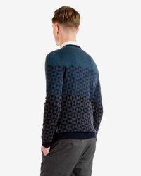 Ted Baker - Blue Ombré Pattern Wool Jumper for Men - Lyst