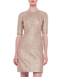 Akris - Pink Half-sleeve Silk Lamé Dress - Lyst