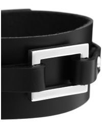 Seven London | Black Leather Cuff Bracelet for Men | Lyst