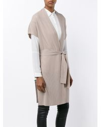 Vince Gray Belted Duster Short Sleeve Cardigan