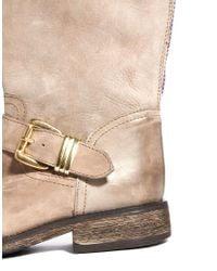 Steve Madden Natural Fizzle Zip Back Biker Boots