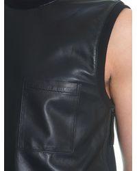 Helmut Lang Black Bonded Leather Tank Top for men