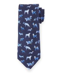 Etro - Blue Silk Dog-print Tie for Men - Lyst