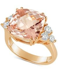 Macy's - Metallic Morganite (7 Ct. T.w.) And Diamond (1/2 Ct. T.w.) Ring In 14k Rose Gold - Lyst