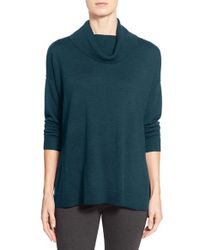 Eileen Fisher | Green Boxy Merino Wool Turtleneck Sweater | Lyst