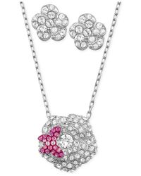 Swarovski | Christie Pink Crystal And Silvertone Pendant Necklace | Lyst