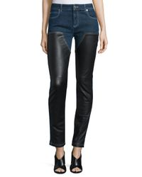 Givenchy Black Skinny Ankle Jeans W/leather Front
