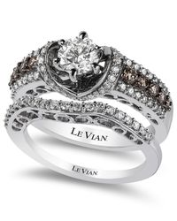 Le Vian | Brown Bridal Chocolate Diamonds And White Certified Diamond Engagement Set In 14K White Gold (1-1/2 Ct. T.W.) | Lyst
