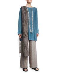 Eskandar - Gray Hand-knotted Striped Linen Scarf - Lyst
