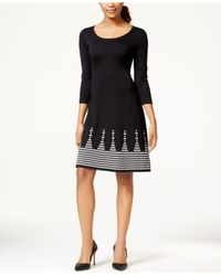 Nine West Black Placed-print Sweater Dress