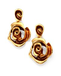 Oscar de la Renta | Metallic Rose Clip-On Drop Earrings | Lyst