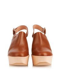 Robert Clergerie Brown French Leather Wedge Clogs