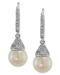 Carolee - Metallic Silver-tone Cubic Zirconia And Glass Pearl Drop Earrings (6-9/10 Ct. T.w.) - Lyst