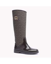 Tommy Hilfiger | Black Jacquard Boot | Lyst
