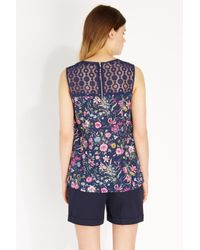 Oasis Blue Delicate Botanical Cotton Shell Top