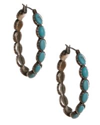 Lucky Brand | Blue Silvertone Turquoise Hoop Earrings | Lyst