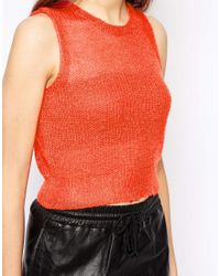 Pop Cph Orange Mohair Crocheted Tank
