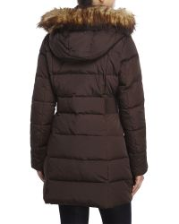Ivanka Trump - Brown Faux Fur Trim Hooded Down Coat - Lyst