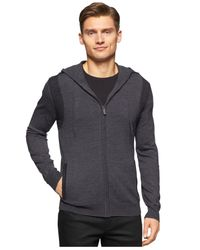 Calvin Klein - Gray Ribbed Zip-front Hoodie for Men - Lyst