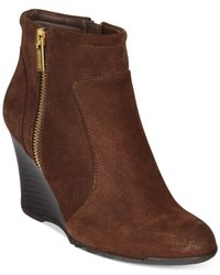 Kenneth Cole Reaction | Brown Tell Lily Pad Wedge Booties | Lyst