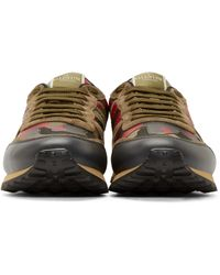 Valentino Olive Green & Red Camo Sneakers for men