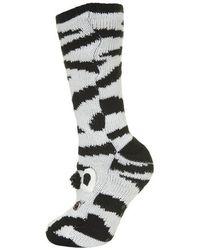 TOPSHOP Black Zebra Lounge Slipper Socks