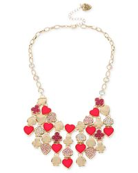 Betsey Johnson - Metallic Gold-tone Pavé Card Suit Bib Necklace - Lyst
