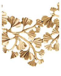 Oscar de la Renta | Metallic Russian Gold Cascading Gingko Leaf Necklace | Lyst