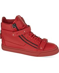 Giuseppe Zanotti Red Waterslai Double Strap High-Top Trainers - For Women