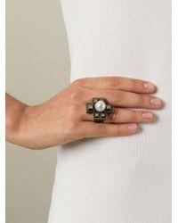 Lanvin - Gray Cross-Shaped Ring - Lyst