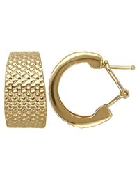 Lord & Taylor - Metallic 14 Kt. Yellow Gold Textured Hoops - Lyst