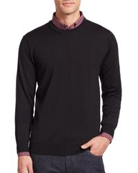 Saks Fifth Avenue | Black Merino Wool Crewneck Sweater for Men | Lyst