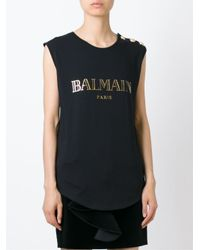 Balmain Black Logo Print Tank Top