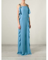 Chloé Blue Crystal Strap Evening Gown