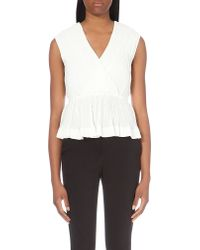 Designers Remix | White Adrienne Pleated Crepe Top - For Women | Lyst