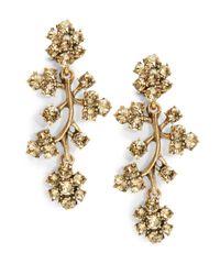 Oscar de la Renta | Brown Rhinestone Branch Drop Earrings | Lyst