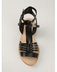 Buttero - Black Strappy Flat Sandals - Lyst