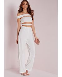 Missguided | Strappy Bardot Jumpsuit White | Lyst